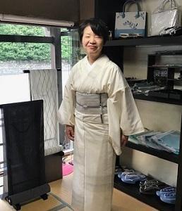 素敵な単衣の紬とまいづる夏帯でご来店のお客様。