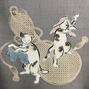 商品紹介・先日仕入れたしょうざん生紬・猫の帯。