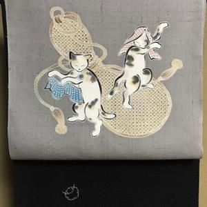 しょうざん生紬猫の帯・瓢箪の前太鼓、瓢箪の帯〆コーデ。