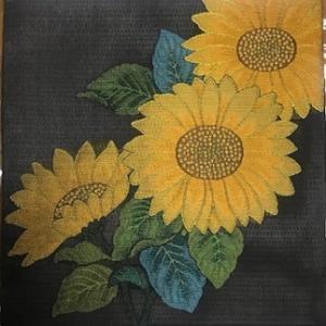 都織物・ひまわりの袋帯を名古屋帯+バッグに。