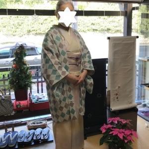 ご来店のお客様・木屋太さん羽織+藤井絞さん羊の帯。