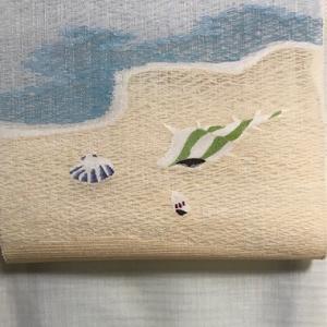 まこと織物すくい織・夏八寸・海辺+夏大島コーディネイト