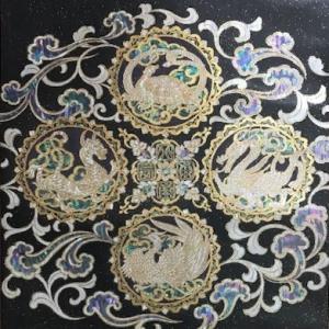織元コレクション・中国五行説・四神の螺鈿の帯。