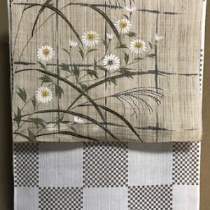 夏物セール・先日入荷・小菊に芒の麻帯+市松綿麻着物