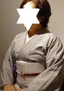はちす織の帯のお客様・月の着物・南風原花織・桜の小紋に
