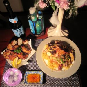 ★鰹中骨・キメジ・鶏ガラ・香味野菜・昆布コラボスープで作る、シイラ薩摩揚げ入り餡かけ堅焼きそば♪