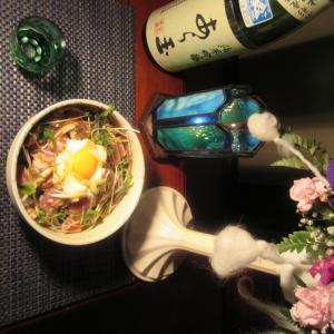 ★片瀬 島きち丸 キハダのたたき山掛け丼、キメジと鰹のたたき食べ比べPART2で『あら玉』一杯♪