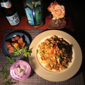 ★片瀬キメジ・鰹ハーブツナのレッドカレー炒飯とキメジ・鰹の梅山椒角煮のランチ♪