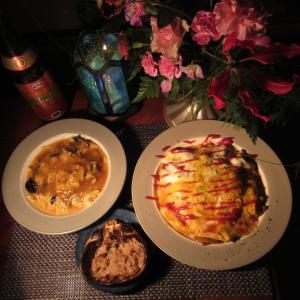 ★キハダ・鰹コラボスープと新潟のずわい蟹の蟹玉、蟹味噌とテールステーキソースオム焼きそばで一杯♪
