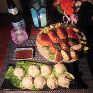 ★鹿嶋釣果の太刀魚、ヤリ烏賊、干し貝柱入り海鮮シュウマイ、薩摩揚げ、チーズメンチで泡盛一杯♪