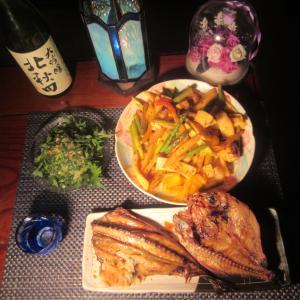 ★片貝釣果のヤリ烏賊・アスパラ・山ウドの豆板醤炒め、胴とワタのナメロウとキンメ・鯖の一夜干し♪