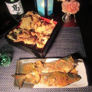 ★片貝ヤリ・キン釣果のキンメ、山ウド他の天婦羅、ヤリ烏賊かき揚げ2種の天丼と鯖の豆板醤辛味噌煮♪