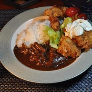 ★新潟の真鯛・真鱈&鶏ガラスープで作る牛脛肉・豚モツカレーのホッケフライ添え♪