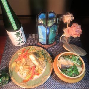 ★剱崎ワラサ・新潟真鱈の塩レモンソテーと真鱈・鶏ガラコラボスープで作る松茸・秋鮭の釜めし♪