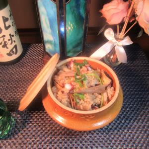 ★鹿嶋釣果の真蛸のゆで汁で作る真蛸の炊き込みご飯と真蛸と胡瓜の真鱈チャンジャ・キムチ和え♪