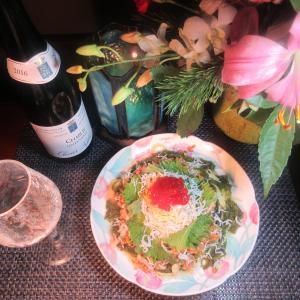 ★6日の大原 春栄丸釣果のヒラメ昆布〆納豆、メカブ、紅鮭筋子、シラスのネバネバパスタのランチ♪