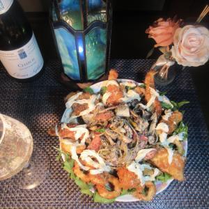 ★ヤリ烏賊ワタ墨丸ごとパスタ烏賊、縁側、真蛸フライ添えとコラボスープの焼きチーズキーマカレー♪