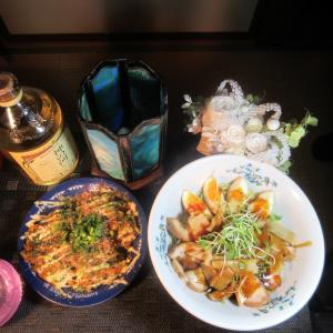 ★真鱈・鶏コラボスープストックで作る鶏チャーシュー・煮玉子冷やしラーメンとお好み焼きのランチ♪