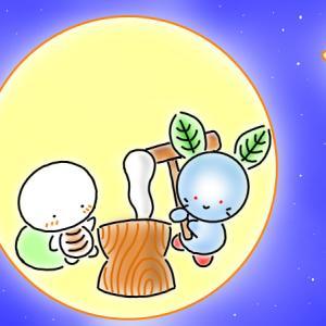 月で餅つき