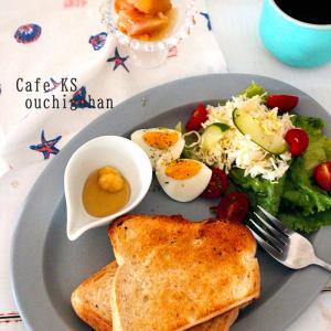 朝ごはん*夏祭りが終わって・・はちみつしょうがトーストのワンプレート