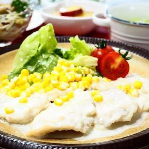 簡単☆チキンクリーム煮&きのこと豆のマリネ☆