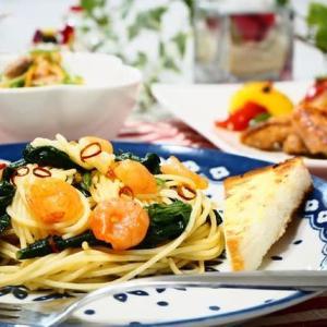♪チキンと野菜のイタリアン焼き&ほうれん草とえびのスパゲティ♪