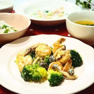 ☆エビときのこのピリ辛マヨ炒め&帆立てと青梗菜のミルク煮☆