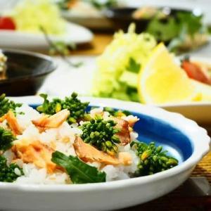 ♪塩鮭と菜の花のちらし寿司&鶏のから揚げ♪