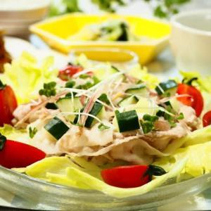 ♪豚しゃぶと夏野菜のジンジャードレッシングサラダ♪