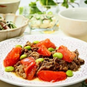 ♪牛肉とトマトのオイスター炒め&豆腐のもずくあえ♪