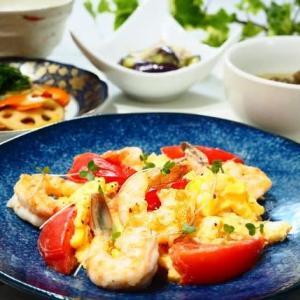 15分レシピ☆えびとトマトの卵炒め&なすのゆずこしょうあえ☆