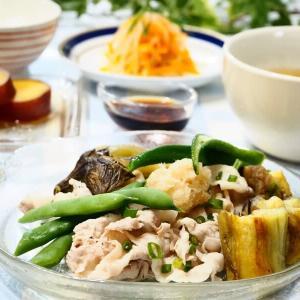 ☆焼きナスとゆで豚のポン酢しょうゆがけ&もやしのナムル☆