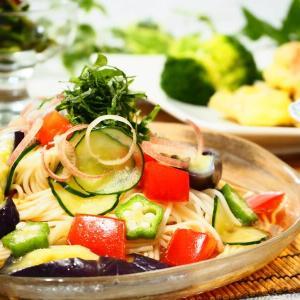 ☆レンジ蒸しなすと夏野菜のサラダそうめん&鶏天ごま塩仕立て☆
