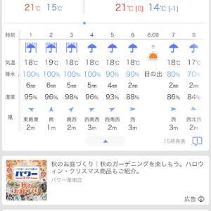 今夜から明日の午前は大雨予報
