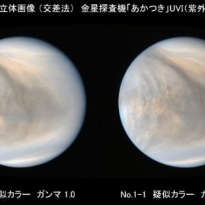 金星の3D立体画像(交差法) 金星探査機「あかつき」UVI(紫外イメージャ)