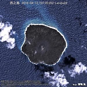 西之島 2019-04-13 T01:05:20Z Landsat8