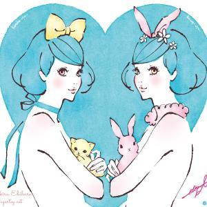 イラスト☆双子っぽい猫うさちゃん