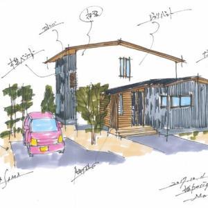 注文住宅 新築設計計画でのプレゼン用の手描きパースです ・・・ K様邸 春日の家