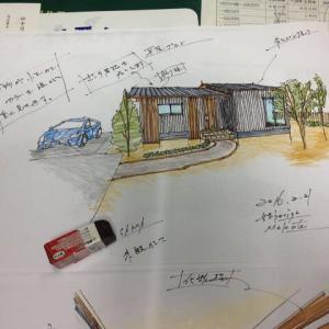 平屋 注文住宅 設計プラン ・・・手描きパース
