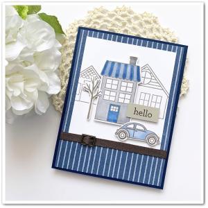【青で】お家も、車も、台紙も。