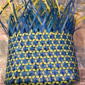 さらっと、さる流交色鉄線編み籠の作り方(3)