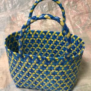 さらっと、さる流交色鉄線編み籠の作り方(5)