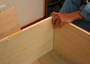 ままごとキッチン製作☆側面、下段板の固定