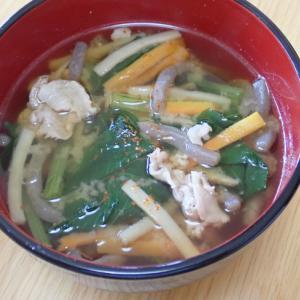 わが家の健康みそ汁「小松菜豚汁ともち麦雑穀サラダ」