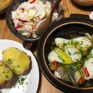 鱈と芋。牡蠣のトマトチャウダー。