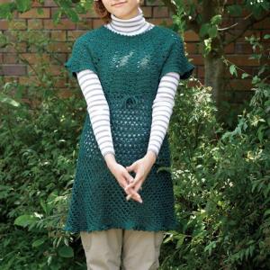 無料編み図☆重ね着を楽しむ♪透かし模様のチュニック