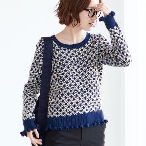 無料編み図☆スクエアパターンの編み込みプルオーバー