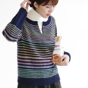 無料編み図セーター☆絵画のような美しい色合いのプルオーバー