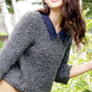 無料編み図ガーリープル☆プードルみたいなふわふわセーター