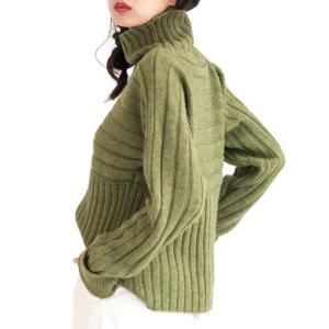 無料編み図プル☆棒針編みゆるシルエットのハイネックニットセーター